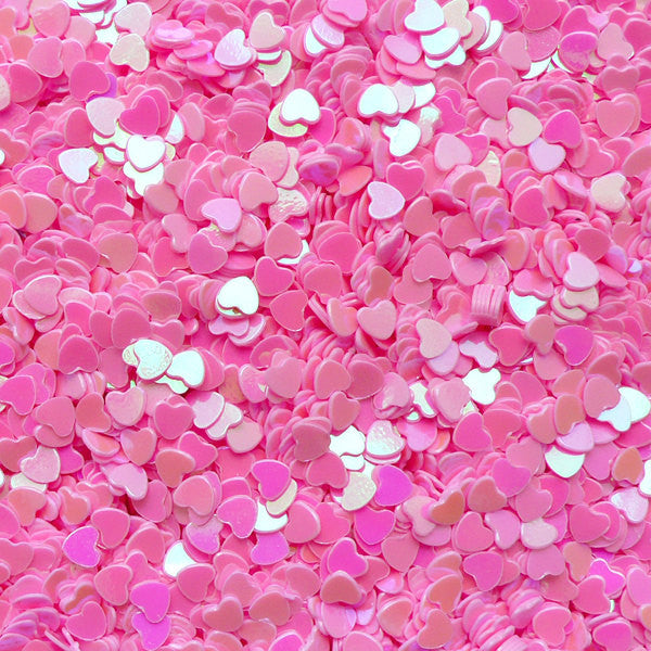 Micro Heart / Fake Topping / Heart Glitter / Heart Sprinkle / Heart Confetti / Heart Sequin (AB Pink / 3mm / 3g) Resin Cabochon Making SPK53