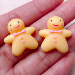 Kawaii Gingerbread Man Cabochons (2pcs / 22mm x 24mm / Flat Back) Dollhouse Sweets Christmas Cookie Decoden Cellphone Deco Scrapbook FCAB296