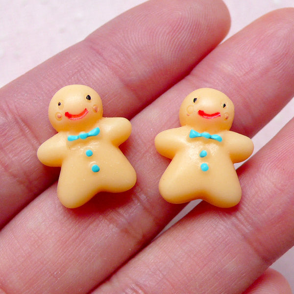 Miniature Gingerbread Man Cabochons (2pcs / 14mm x 16mm / Flat Back) Dollhouse Christmas Cookie Kawaii Decoden Phone Case Decoration FCAB297