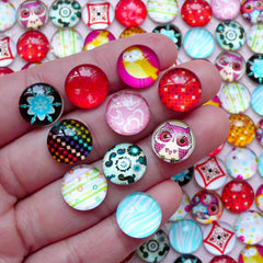 CLEARANCE Photo Cabochons / Picture Dome Cabochon / Round Cabochon with Image (6pcs by RANDOM / 12mm / Flat Back) DIY Earrings Pendant CAB395