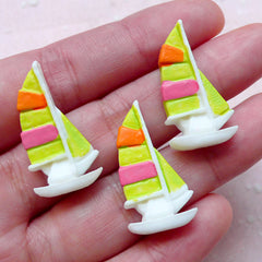 Sailboat Cabochons (3pcs / 15mm x 27mm / Flat Back) Sailing Boat Yacht Cell Phone Deco Nautical Scrapbook Whimsical Kitsch Jewelry CAB397