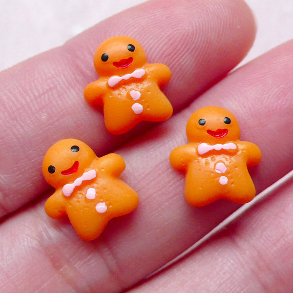 Dollhouse Gingerbread Man Cabochons (3pcs / 11mm x 11mm / Flat Back) Miniature Christmas Cookie Decoden Phone Case Deco Scrapbook FCAB298