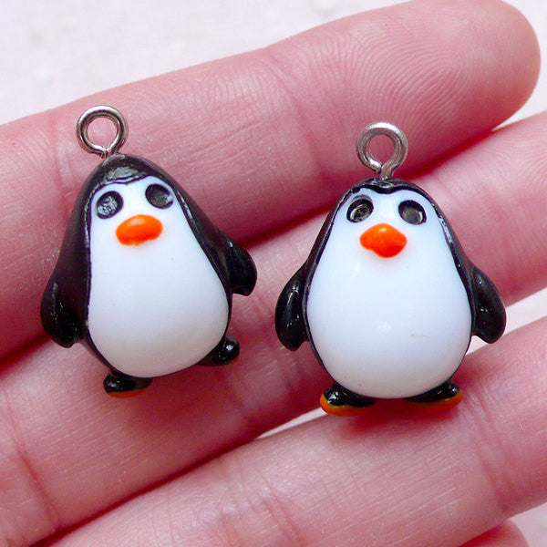 3D Penguin Charms Cute Animal Cabochon w/ Eye Pin (2pcs / 18mm x 22mm) Pendant Bracelet Baby Shower Keychain Zipper Pull Charm CHM1524
