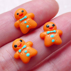 Miniature Christmas Cookie Cabochon / Gingerbread Man Cabochon (3pcs / 11mm x 11mm / Flat Back) Dollhouse Sweets Cellphone Case Deco FCAB299