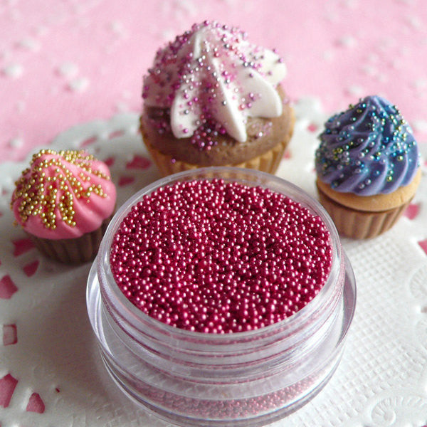Miniature Balls Dragees Fake Sugar Pearls Faux Candy Sprinkles Dollhouse Cupcake Toppings Caviar Micro Beads (Dark Pink / 7g) Nail Art SPK13