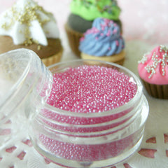Miniature Sugar Balls Caviar Beads Faux Pearl Dragees Fake Cupcake Toppings Dollhouse Candy Sprinkles (Pink / 7g) Nail Decoration SPK14