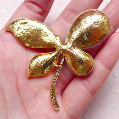 Butterfly Metal Cabochon / Huge Rhinestone Insect Cabochon (Gold with Pink & Clear Rhinestones / 62mm x 53mm) Bling Bling Jewellery CAB123