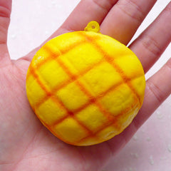 Squishy Cross Bun Charm / Melon Bread Squishy Blank (5.5cm / 1pc) Kawaii Squishies Decoden Sweets Cellphone Deco Keychain Keyring SQ06
