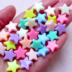 Fairy Kei Bracelet Acrylic Star Beads (14mm / Assorted Candy Color Mix / 30pcs) Plastic Pastel Bead Loose Bead Kawaii Rainbow Necklace F270