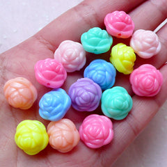 Rose Beads / Acrylic Flower Bead (14mm / Assorted Candy Color Mix / 15pcs) Plastic Bead Loose Pastel Bead Fairy Kei Bracelet Necklace F272