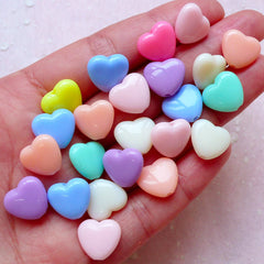 Pastel Heart Beads (12mm x 11mm / Rainbow Color / 30pcs) Decora Acrylic Bead Loose Plastic Bead Sweet Colorful Fairy Kei Jewellery DIY F273