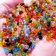 Glass Seed Beads (Size 8/0 or 3mm / Assorted Color Mix / 30gram / 1100pcs) Tiny Loose Bead Microbeads Colorful Bracelet Necklace F277