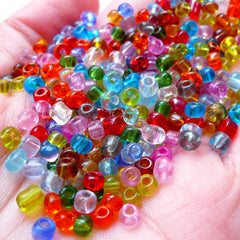 6/0 Seed Beads / 4mm Glass Beads (Mixed Color / 30gram / 450pcs) Small Loose Bead Mini Little Colorful Beads Bracelet Necklace Supplies F278