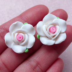 Rose Cabochon / Polymer Clay Flower (2pcs / 20mm / White / Flat Back) Earrings Ring Hair Clip Fimo Jewellery DIY Wedding Decoration CAB401