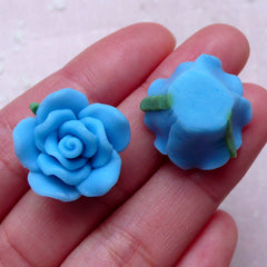 Flower Cabochon / Polymer Clay Rose (2pcs / 20mm / Blue / Flat Back) Earrings Ring Hairclip Fimo Jewelry Supplies Cellphone Deco DIY CAB402
