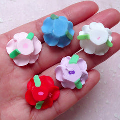 Polymer Clay Rose Cabochon / Fimo Flower (5pcs / 20mm / Mix / Flat Back) Floral Earrings Ring Hair Clip DIY Embellishment Scrapbook CAB405