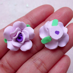 Fimo Rose Cabochon / Polymer Clay Floral (2pcs / 20mm / Purple / Flat Back) Fimo Flower Ring Earring DIY Scrapbooking Jewelry Supply CAB404