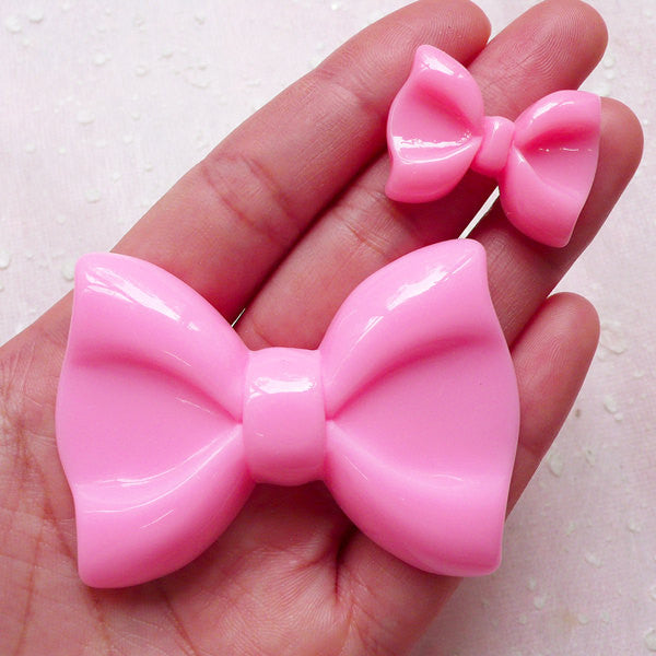 Pink Bow / Bow Tie Cabochon Set (2pcs / 28mm & 60mm / Pink / Flatback) Kawaii Phone Case Decoration Decoden Embellishment Scrapbook CAB407