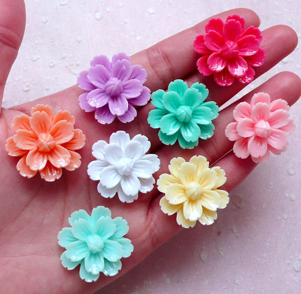 Flower Cabochon Mix / Assorted Floral Cabochon (8pcs / 27mm / Flat Back) Earrings Ring Hairpin Hair Clip DIY Cell Phone Deco Decoden CAB408