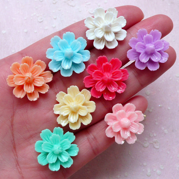 Floral Cabochon Mix / Assorted Flower Cabochon (8pcs / 22mm / Flatback) Earrings Ring Hair Pin Hairclip Cellphone Deco Scrapbooking CAB409
