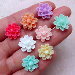 Assorted Small Flower Cabochon Mix (8pcs / 15mm / Flatback) Mini Floral Earrings Making Jewelry Supplies Scrapbook Embellishment CAB410