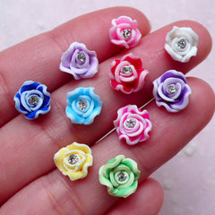 Assorted Rose Cabochon w/ Clear Rhinestones (10pcs / 8mm / Flatback) Floral Nail Art Flower Nail Decoration Wedding Jewelry Making NAC291