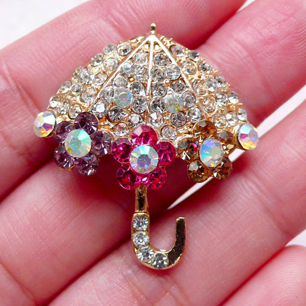 Umbrella Cabochon w/ Bling Bling Rhinestones (30mm x 33mm / Metal) Princess Lolita Decoden Kawaii Phone Case Deco Cute Embellishment CAB412