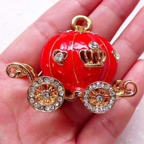 Princess Cinderella Pumpkin Carriage Cabochon / Charm with Rhinestones (49mm x 41mm / Red / Metal) Decoden Kawaii Cellphone Deco CAB413