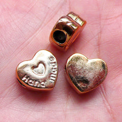 Heart Beads Acrylic Spacer (8pcs / 13mm x 13mm / Rose Gold) Large Big Hole Light Weight Chunky Bracelet Neckalce DIY Valentines Day CHM1536