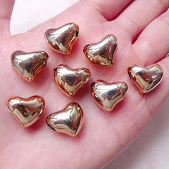 Acrylic Heart Bead / Spacer (8pcs / 16m x 13mm / Rose Gold) Large Big Hole Bead Light Weight Bead Chunky Necklace Wedding Decoration CHM1537