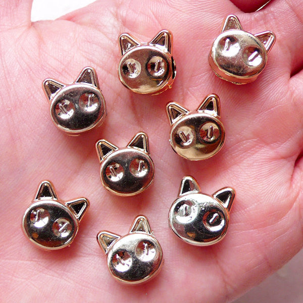Cat Bead Animal Spacers Acrylic Loose Beads (8pcs / 11mm x 13mm / Rose Gold) Large Big Hole Beads Light Weight Chunky Jewelry DIY CHM1541