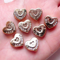 CLEARANCE Heart Beads Acrylic Spacer (8pcs / 13mm x 13mm / Rose Gold) Large Big Hole Light Weight Chunky Bracelet Neckalce DIY Valentines Day CHM1536