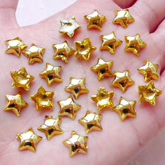 Acrylic Puffy Star Cabochons (25pcs / 10mm / Gold / Flat Back) Kawaii Phone Case Deco Cute Scrapbook Card Decoration Decoden Pieces CAB415