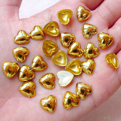 Heart Acrylic Cabochons (25pcs / 10mm / Gold / Flatback) Cute Phone Case Deco Decoden Kawaii Embellishment Scrapbook Decoration CAB417