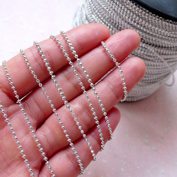 1.5mm Plastic Ball Chain / Fixed Bead Garland / Bead Strands (5 Meters / Silver) Scrapbooking Wedding Decoration Embellishment Sewing A028