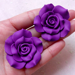 Polymer Clay Flower Cabochons (2pcs / 39mm / Purple / Flatback) Big Fimo Rose Earrings Ring DIY Floral Jewellery Supply Embellishment CAB418