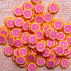 Kawaii Polymer Clay Cane Grapefruit Fimo Cane Dollhouse Citrus Fruit Slices (Cane or Slices) Miniature Food Jewelry Fake Sweets Craft CF010