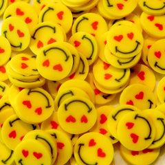 Yellow Smiley in Love Polymer Clay Cane Kawaii Fimo Cane Nail Art Nail Deco Nail Decoration Scrapbooking CE027