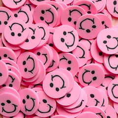 Polymer Clay Cane - Pink Smiling / Smiley Face - for Miniature Food / Dessert / Cake / Ice Cream Sundae Decoration and Nail Art CE030