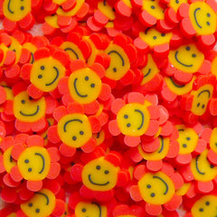 Polymer Clay Cane - Red and Yellow Smiling Sunflower - for Miniature Food / Dessert / Cake / Ice Cream Sundae Decoration and Nail Art CE039