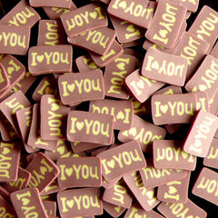 Chocolate Tag Polymer Clay Cane I LOVE YOU Fimo Cane Kawaii Miniature Sweets Dollhouse Cake Nail Art Nail Decoration Cell Phone Deco CSW039