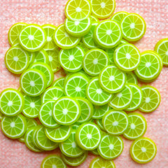 Dollhouse Citrus Fruit Cane Lime Polymer Clay Slices (Cane or Slices) Miniature Mojito Cocktail DIY Fimo Cupcake Jewelry Sweets Deco CF012
