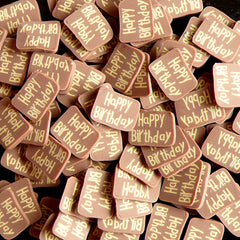 HAPPY BIRTHDAY Polymer Clay Cane Chocolate Tag Fimo Cane Kawaii Miniature Sweets Cake Nail Art Nail Decoration Cell Phone Deco CSW040