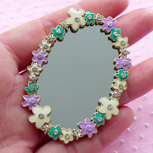 Flower Mirror Cabochon w/ Rhinestones (Oval / 44mm x 63mm) Dollhouse Wall Mirror Kawaii Cabochon Cell Phone Deco Floral Embellishment CAB002