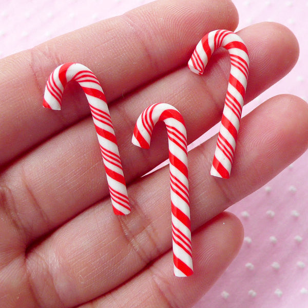 Christmas Candy Sticks / Miniature Peppermint Stick Cabochon (3pcs / 12mm x 30mm) Polymer Clay Sweets Kawaii Christmas Decoration FCAB194