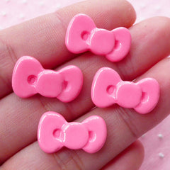 Kawaii Pink Bow Bowtie Cabochon (4pcs) Kawaii Cabochon Cell phone Deco Decoden Supplies Kawaii Earrings Jewelry Making Scrapbooking CAB290