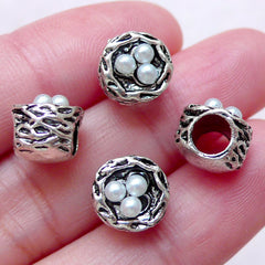 CLEARANCE 3D Bird Nest w/ Pearl Charm Beads (4 pcs / 9mm x 8mm / Tibetan Silver) Animal Nature Big Large Hole Bead European Bracelet Necklace CHM1553