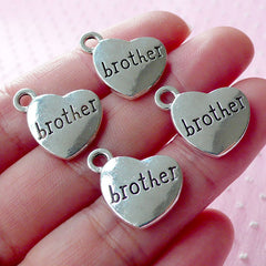 BROTHER Charms Heart Charm (4pcs / 17mm x 15mm / Tibetan Silver / 2 Sided) Love Family Charm Stamped Word Charm Gift Decoration CHM1558