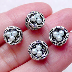 3D Bird Nest w/ Pearl Charm Beads (4 pcs / 9mm x 8mm / Tibetan Silver) Animal Nature Big Large Hole Bead European Bracelet Necklace CHM1553