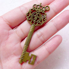 Antique Key Charm (1 piece / 22mm x 67mm / Antique Bronze / 2 Sided) Key Necklace Pendant Keyring Bookmark Purse Charm Zipper Pull CHM1557